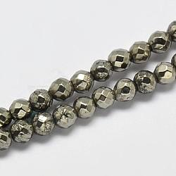 """Chapelets de perles rondes en pyrite naturelle, facette, Grade a, 3mm, trou: 1mm; environ 130 pcs/chapelet, 16""""(G-F197-09-3mm)"""