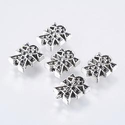 Supports perle de strass de style tibétain, sans plomb, fille, argent antique, longueur d'environ 11.5 mm ,  largeur de 9.5 mm, épaisseur de 4mm, Trou: 1mm(AB4983Y)