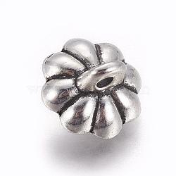 Pendentifs en forme de tibétain, pour la moitié de perles percées, fleur, argent antique, 11x9mm, trou: 1.6 mm; broches: 1.6 mm(PALLOY-WH0066-08AS)