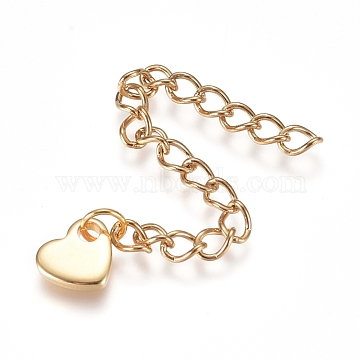 304 Stainless Steel Chain Extender, Curb Chain, with Charms, Heart, Golden, 60mm, link: 4x3x0.5mm, charm: 6x7x1.3mm.(X-STAS-G221-24G)