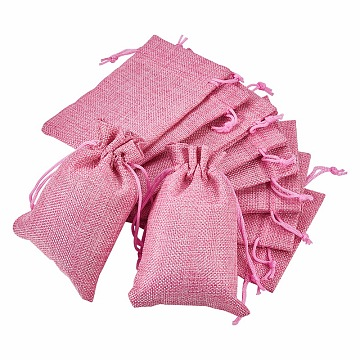 BENECREAT Burlap Packing Pouches, Drawstring Bags, Pink, 14x10cm(ABAG-BC0001-09C)
