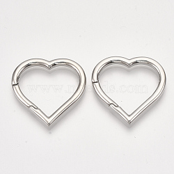 304 Stainless Steel Spring Gate Rings, Heart Rings, Stainless Steel Color, 30x30x3mm; Inner Diameter: 21x24mm(STAS-S079-91)