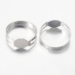 Accessoires compopsants tamon pour bagues en fer, réglable, platine, 16 mm; 7.5 mm de large(X-E145Y-1)