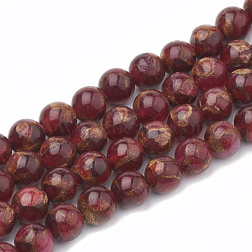Natural Chalcedony Beads Strands, Imitation Gold Clinquant Stone, Dyed & Heated, Round, Red, 8~9mm, Hole: 1mm; about 45~48pcs/strand, 15.7 inches(G-S333-8mm-014D)