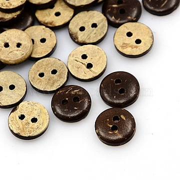 Coconut Buttons, 2-Hole, Flat Round, Coconut Brown, 10x2.5mm, Hole: 1.5mm(X-COCO-I002-092)