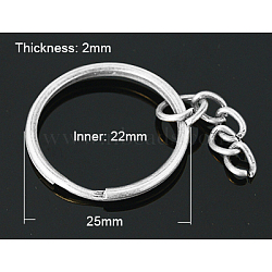 porte-clés fendus en fer argenté, avec chaînes gourmettes, conclusions de fermoir porte-clés, 25x2 mm(X-IFIN-H047-S)