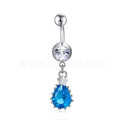 Piercing Jewelry, Environmental Brass Cubic Zirconia Navel Ring, Belly Rings, with Stainless Steel Findings, Teardrop, DeepSkyBlue, Platinum, 42mm; Pin: 1.5mm(AJEW-EE0006-01)