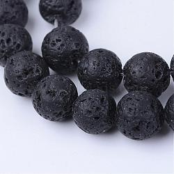 Chapelets de perles de lave naturelle, rond, 8~8.5mm, trou: 1mm; environ 47 pcs/chapelet, 15.5
