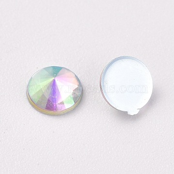 Acrylic Flat Back Rhinestone, AB Color, Cone, Clear AB, 4x1.5mm; about 200pcs/Bag(OACR-WH0003-05C-04)