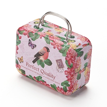 Portable Tinplate Boxes, Storage Container, Hinged Tin Boxes with Lid and Handles, Flower and Bird Pattern, Light Coral, 7.6x5.8x3.7cm(CON-WH0072-02B)