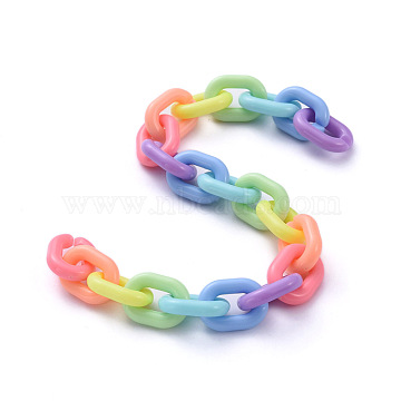 Handmade Acrylic Cable Chains, Colorful, Links: 19x14x4.5mm, 39.37 inches(1m)/strand(X-AJEW-JB00643)