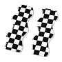 Opaque Resin Cabochons, Two Tone, Wave with Chessboard Pattern, Black, 6.15x2.2x0.2cm