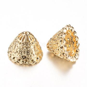 Alloy Bead Cap Rhinestone Settings, Tassel Cap Bail, Lead Free, Cone, Light Gold, Fit for 1.5mm rhinestone; 17x21mm, Hole: 1mm(X-PALLOY-S090-40KC-LF)