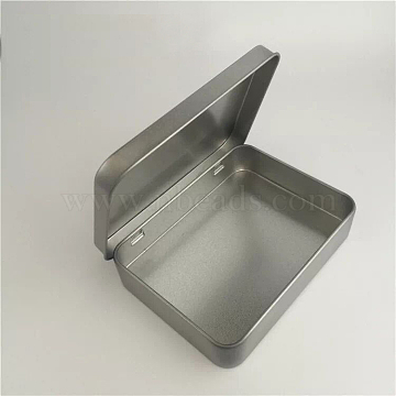 Iron Box, Storage Containers, Frosted, Tinning, Rectangle, 8.8x6x1.8cm(CON-WH0005-01)