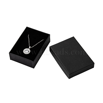 Rectangle Cardboard Jewelry Set Boxes, for Necklaces, Earrings and Rings, Black, 90x65x28mm, with Sponge(X-CBOX-S008-04)