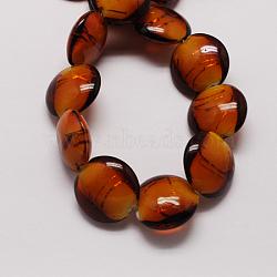 Perles en verre d'argent feuille manuelles, plat rond, Sienna, 20x10mm, Trou: 2mm(X-FOIL-S125-3)