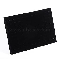 Bague de velours écrans, avec du bois, noir, 35x24x4 cm(RDIS-N007-01)