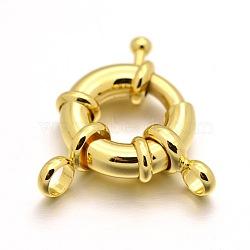 стойки обшивки латунь весной застежками, реальное золото покрыло, 15x5 mm, отверстия: 3 mm(KK-D399-B-G-NF)