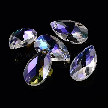 Faceted Teardrop Glass Pendants, AB Color, Colorful, 22x13x7mm, Hole: 1mm(X-GLAA-O008-B02)