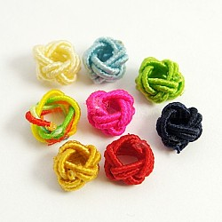 Ручной шнур нейлона ткани упругие шарики, круглые, разноцветные, 6x5 мм, отверстие : 3 мм(X-WOVE-D005-M)