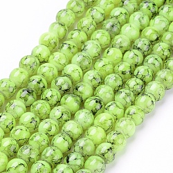 "Perles en verre d'effilage, rond, greenyellow, 6 mm; trou: 1.3~1.6 mm; environ 133 pcs / brin, 31.4""(GLAD-S075-6mm-29)"