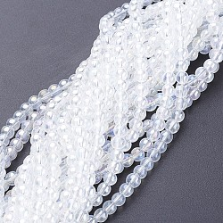 Glass Beads Strands, Round, Clear AB, AB Color Plated, The beads about 4mm in diameter, hole: 1mm, about 13inches/strand, about 80pcs/strand(X-GR4mm01Y-AB)