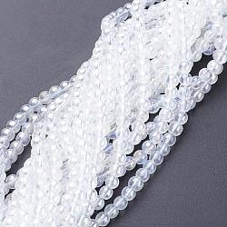 perles de verre brins, arrondir, clair ab, ab couleur plaquée, les billes sur 4 mm de diamètre, trou: 1 mm, environ13 / brin, environ 80 pcs / brin(X-GR4mm01Y-AB)