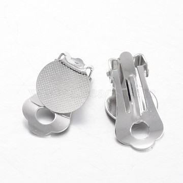 Brass Clip-on Earring Settings, with Round Flat Pad, Flat Round, Platinum, 19x10x7.5mm, Tray: 10mm(KK-F371-46P)