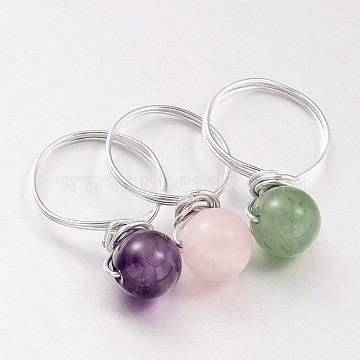 Natural Gemstone Beaded Finger Rings, with Silver Color Plated Aluminum Finger Ring Settings, 18mm(X-RJEW-JR00150)