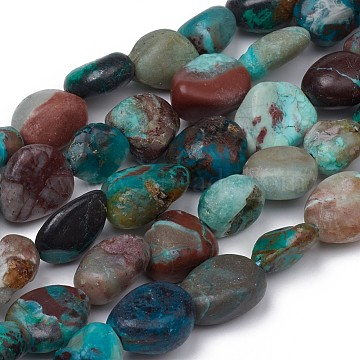 Natural Chrysocolla Beads Strands, Nuggets, Tumbled Stone, 8~10x8~9x5.5~6mm, Hole: 0.5mm; about 43pcs/strand, 15.55 inches(39.5cm)(X-G-L493-61)