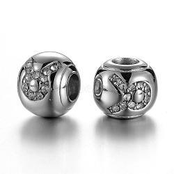 Perles européennes avec strass en 304 acier inoxydable, rondelle, constellation / signe du zodiaque, cristal, taurus, 12x10mm, Trou: 4.5mm(STAS-F057-14F)