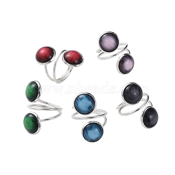 Adjustable Resin Finger Rings, with Silver Color Plated Cuff Iron Pad Ring Settings and Cardboard Packing Box, Mixed Color, Size 8, 18mm(RJEW-JR00297-M)