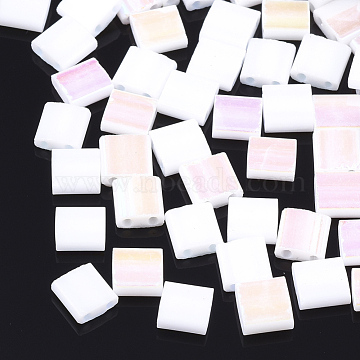 Electroplate Opaque Glass Seed Beads, 2-Hole, Rectangle, AB Color Plated, White, 5x4.5~5.5x2~2.5mm, Hole: 0.5~0.8mm(SEED-S023-18C-01A)