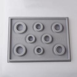 8 Sizes Plastic Rectangle Bracelet Design Board, Flocking, 13.70x10.24x0.63 inches, Dark Gray(TOOL-D052-01)
