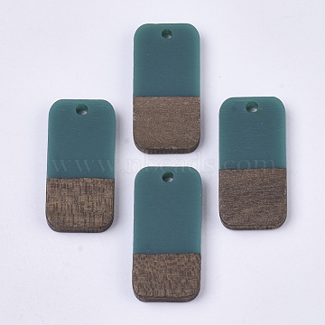 Resin & Wood Pendants, Rectangle, Teal, 26.5x13x3~4mm, Hole: 1.8mm(RESI-S358-11F)