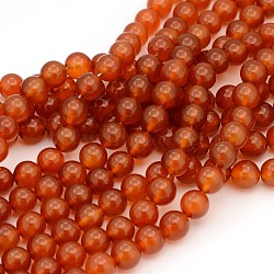 Gemstone Beads Strands, Natural Carnelian, Dyed, Round, 12mm, Hole: 1mm; about 32pcs/strand, 16inches
