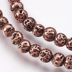 déposer des perles de lave naturelle, plaqué longue durée, arrondir, cahoteux, cuivre plaqué, 4.5~5 mm, trou: 0.8 mm; environ 89 perle / brin, 15.16 (38.5 cm)(X-G-I200-17C)