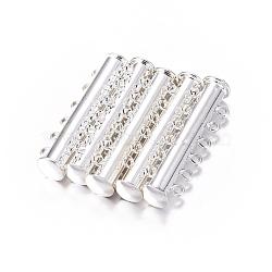 Fermoirs à coulisse en laiton à  6-brins, pour les bijoux multi-brin, 12 trous, argenterie, 36x7mm, Trou: 2mm(KK-Q270-6)