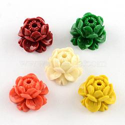 Perles en corail synthétique teinte, lotus, couleur mixte, 15x10mm, Trou: 1.5mm(CORA-R011-09)