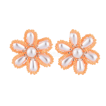 Brass Clip-on Earring, with ABS Plastic Imitation Pearl Cabochons, Flower, Dark Orange, 34x19mm(EJEW-JE04139-01)