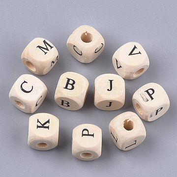 Natural Wooden European Beads, Large Hole Beads, Undyed, Cube with Letter, Antique White, 10x9.5x9.5mm, Hole: 4mm, about 905pcs/500g(WOOD-S055-01A)