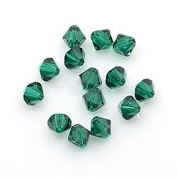Perles de cristal autrichien, 6mm émeraude 5301 bicone, taille: environ 6 mm de long,  largeur de 6 mm, Trou: 1mm(X-5301-6mm205)