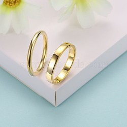 Bagues en argent sterling à la mode, anneaux couple, taille 9, or, 18.9mm(RJEW-BB29185-C-9)