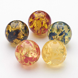 Resin Beads, Imitation Amber, Round, Colorful, 18mm, Hole: 3mm(X-RESI-RB655Y)