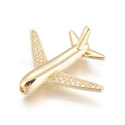 perles de l'avion de l'environnement en laiton zircon cubique micro pavé, plaqué longue durée, sans plomb et sans cadmium et sans nickel, avion de passagers, effacer, réel 18 k plaqué or, 26.5x22x8 mm, trou: 1.6 mm(ZIRC-L078-005G-NR)