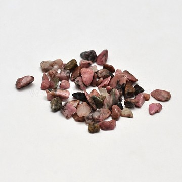 Natural Rhodonite Chip Beads, No Hole/Undrilled, 2~8x2~4mm; about 170pcs/10g(X-G-O103-05)