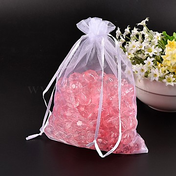 Rectangle Jewelry Packing Drawable Pouches, Organza Gift Bags, White, 17x23cm(OP-S004-17x23cm-1)