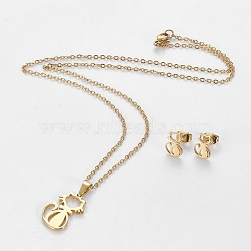 304 Stainless Steel Kitten Jewelry Sets, Stud Earring and Pendant Necklaces, Hollow Cat, Golden, 17.3 inches~18.2 inches(44~46.3cm), 10x7mm, Pin: 0.8mm(X-SJEW-L141-017G)