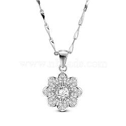 tinysand® 925 fleur éclose argent sterling cube collier pendentif en zircone, avec la chaîne de liaison de barre, effacer, 18(TS-N397-G-18)