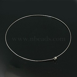 Brass Necklace Making, Lead Free and Cadmium Free, Platinum Color, about 12.8cm inner diameter, 1mm thick, beads: 5mm in diameter(X-PJN196)